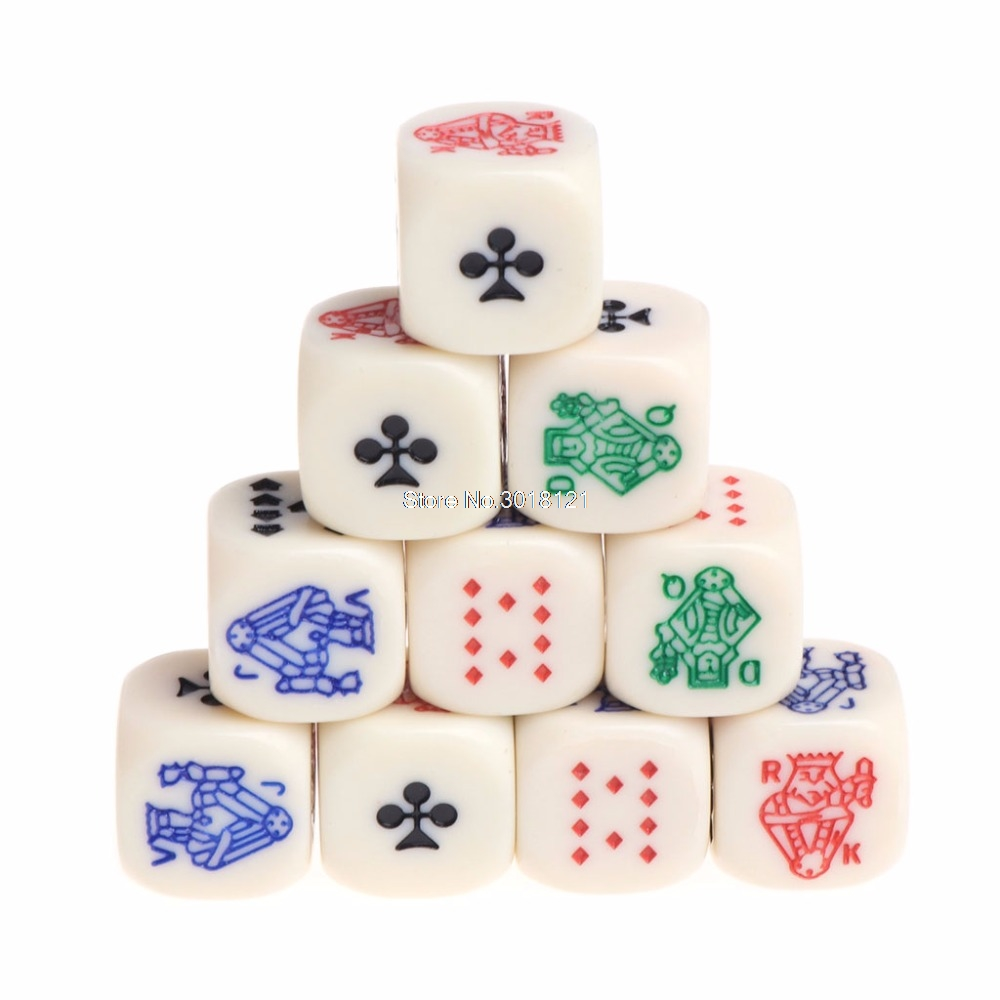 10pcs 16mm Multicolor Acrylic Cube Dice Beads Six Sides Portable Table Games Toy ROU_1008