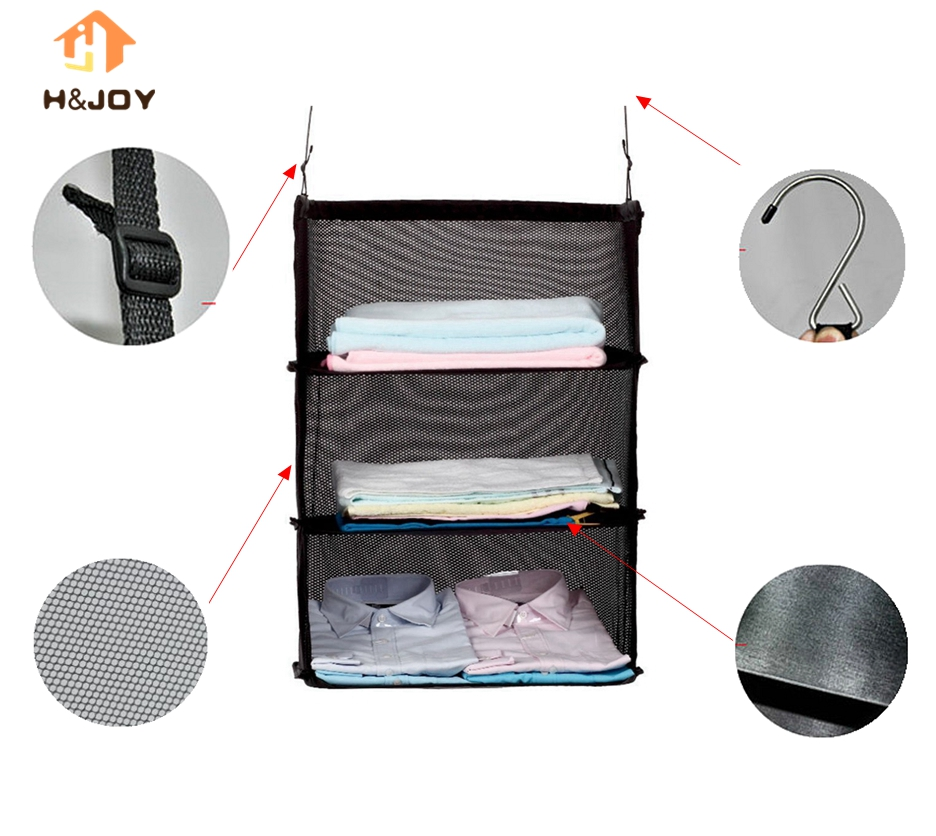 3 Layers Portable Travel Storage Bag Hook Hanging Nylon Mesh Bag Storage Organizer Wardrobe Clothes Shoes