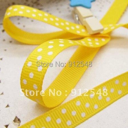 Оптовая продажа 20 ярдов 3/8 «10 мм желтый горошек Grosgrain ленты-Бесплатная доставка, yd10002