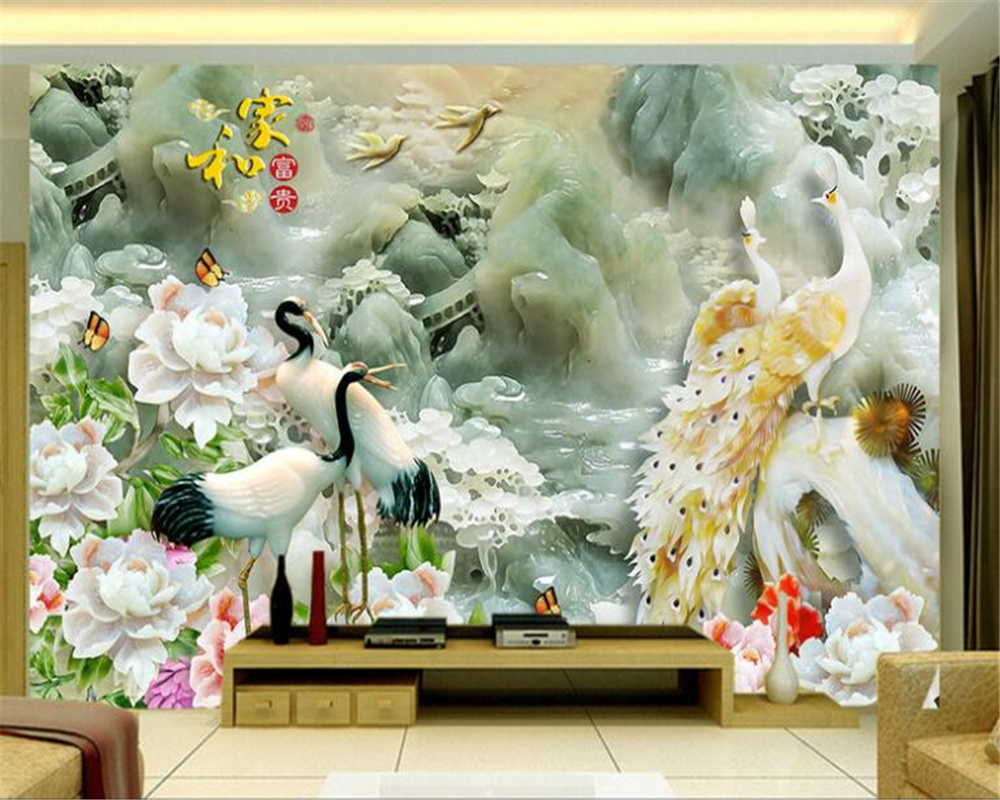 beibehang papel de parede 3d bird crane three - dimensional emerald sculpture and peacock peony landscape wall wallpaper free shipping  32mm 33 meters  0 06mm