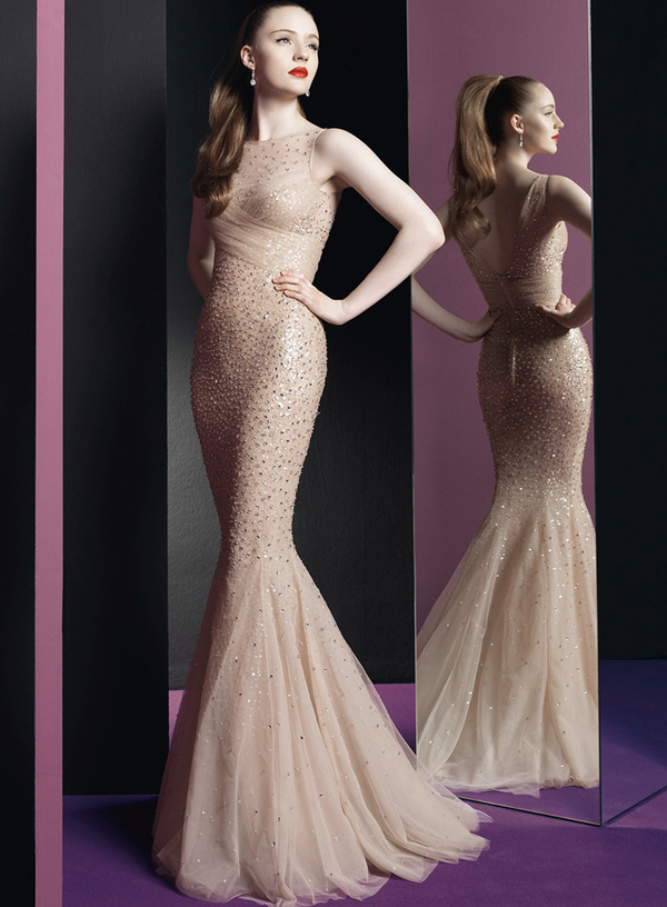 Mermaid Full-Length O-Neck Sleeveless V-Back crystal Beading Nude Tulle Formal Party prom Gown 2018   bridesmaid     dresses