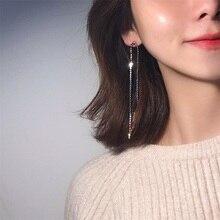 dangle earrings S925 silver needle tassel Korean cold wind long fairy asymmetric face fashion jewelry