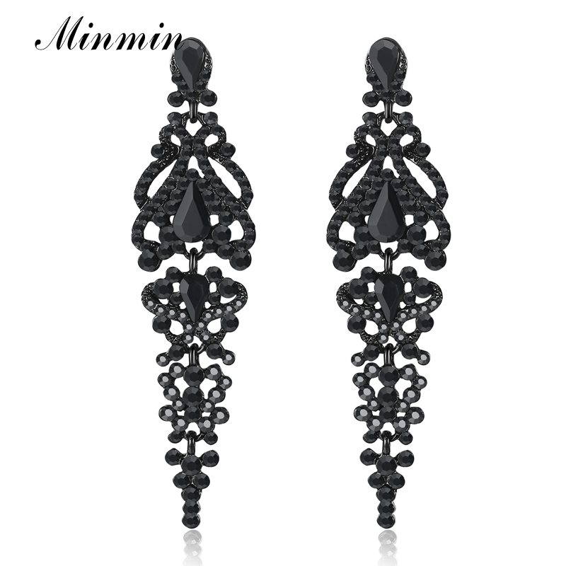 Minmin Vintage Black Crystal Big Long Drop Earrings for Women Statement Large Hanging Dangle Earrings for Party 2020 EH291