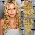 Grade 7A Hot Sale Peruvian Virgin Hair Body Wave Wavy #27 Honey Blonde Three Bundles With Honey Blonde Color Lace Closure
