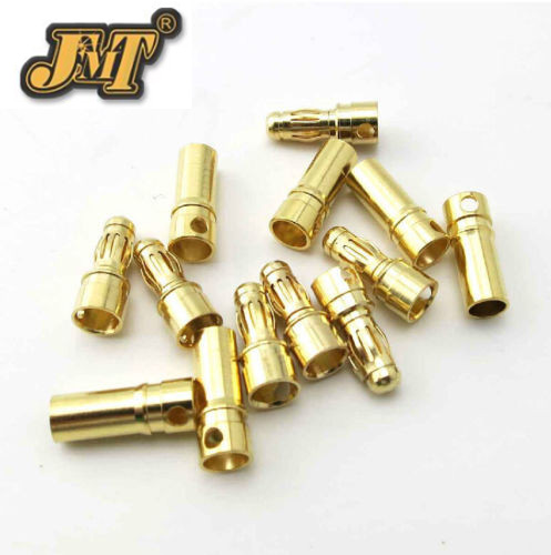 JMT 6 pairs Thick Gold Plated 3.5mm Bullet Connector ( banana plug ) For ESC battery RC Quadcopter Drone 10pair 3 5mm gold bullet banana connector plug with protective sleeve for esc battery motor