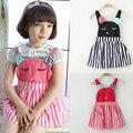 Historieta del verano tirantes del vestido catmini general para el niño pequeño niños pequeños tamaño 2 3 4 5 6 7 años de edad de edad