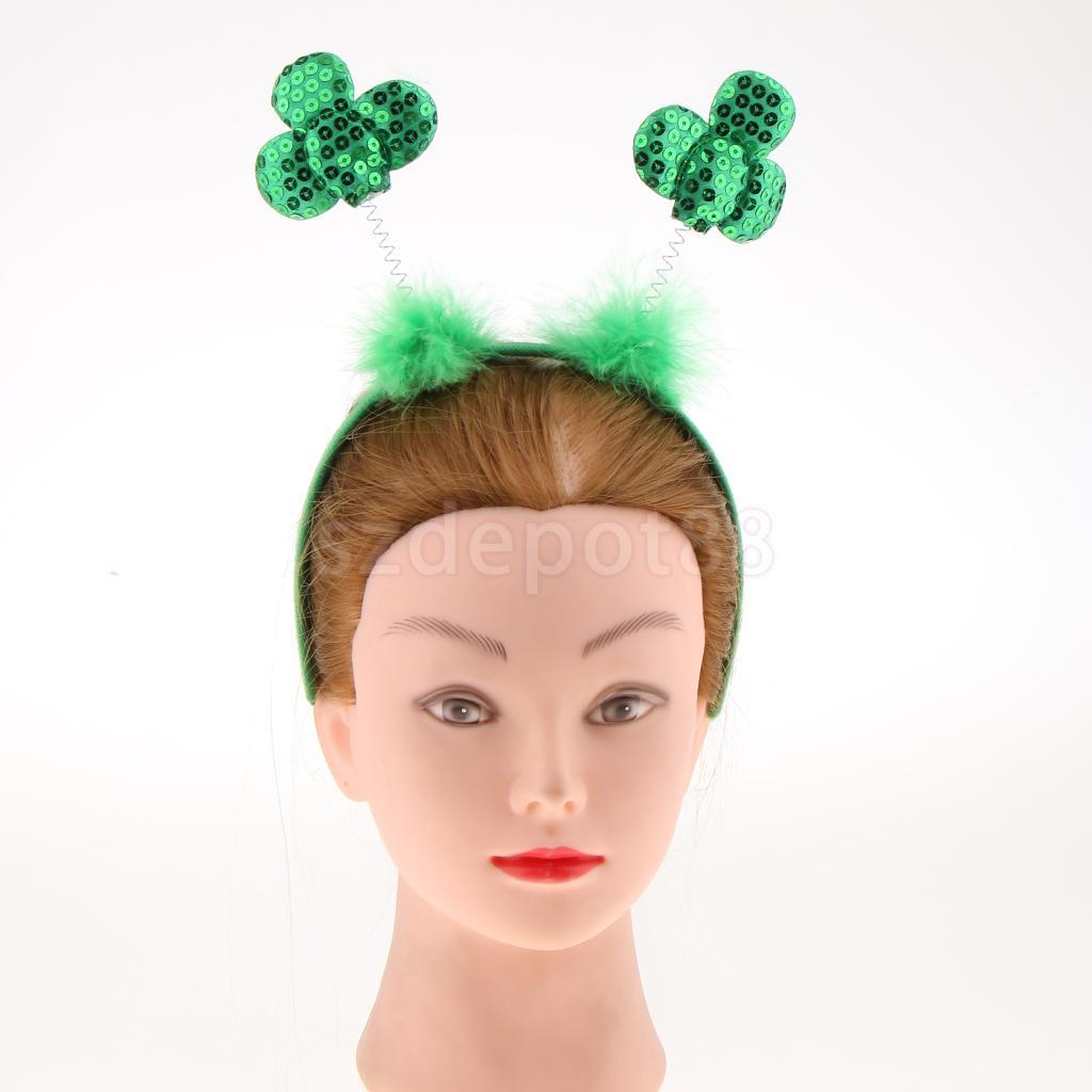 Festival Novelty Saint Patrick Day Party Head Bopper Shamrocks Headband Green Sequin Irish Headwear Photo Props Gift