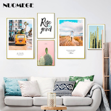 Scandinavian Style Wall Painting Travel Bus Poster On the Cactus Decorative Picture for Bedroom Nordic Home Decor