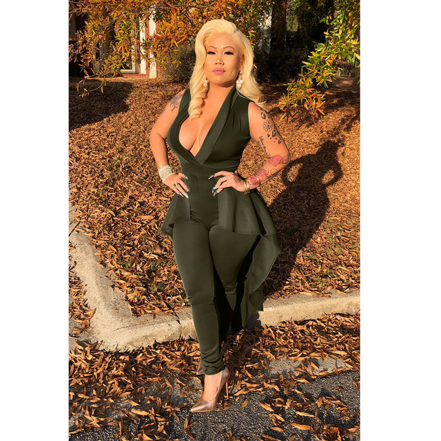 Jumpsuits For Women 2019 Elegantes Bodycon Jumpsuit Trousers Casual Elegant Rompers Womens Overalls Deep V Neck Rocking