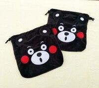 Ibyye 1 шт. черные сумки с рисунком кумамона на шнурке милые плюшевые сумки для хранения сумка для макияжа монета в комплекте карманные кошельк...