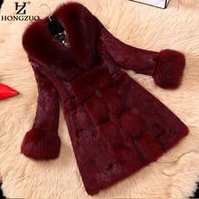 Hongzuo Новый Для женщин вина Искусственный мех длинное пальто с лисой меховой воротник женский толстый теплый искусственного кролика рекс Меховая куртка пальто парка PC125