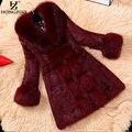 HONGZUO Nuevas Mujeres Del Vino Faux Fur Coat Con Piel De Zorro Collar de Mujer Gruesa Caliente de Imitación de piel de Conejo Rex Chaqueta de Abrigo Parka PC125