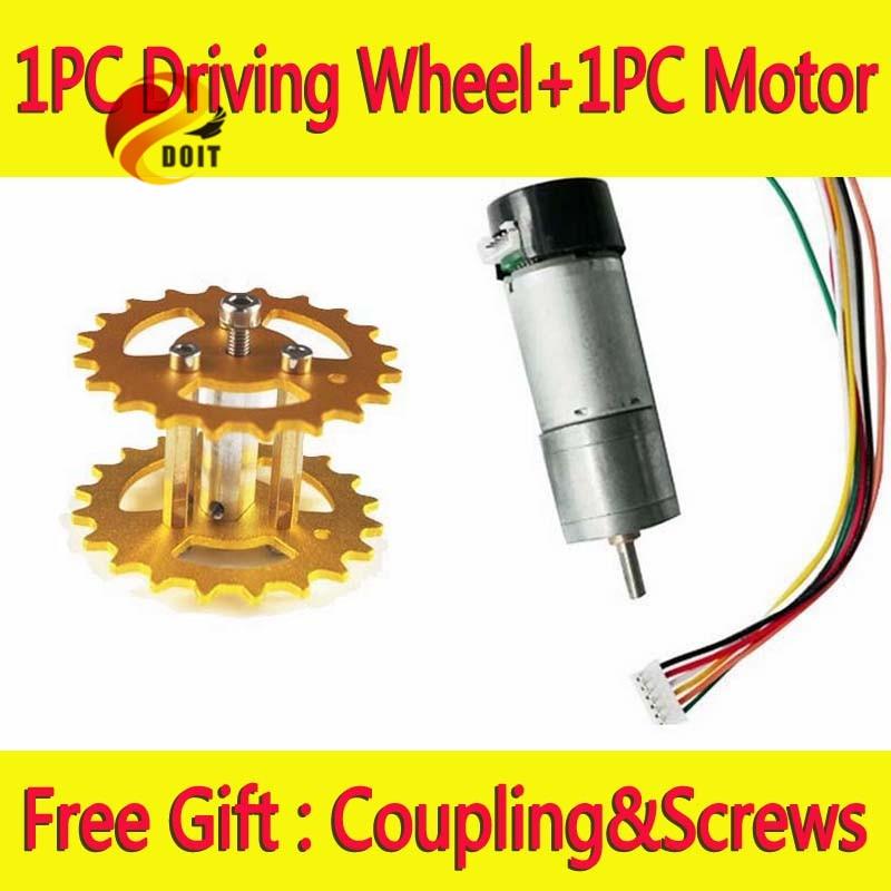 Virallinen DOIT-metalliohjauspyörä + phi 4mm -moottori säiliöalusta-indeksoijalle DIY RC -lelukaukosäätimellä varustetun ajoneuvon autoon