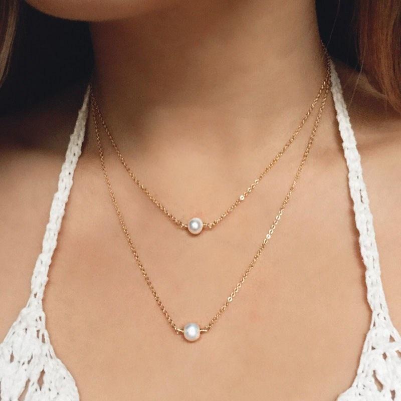NK1023 горячая Распродажа модные милые двухслойные имитация жемчуга шар подвеска в виде капельки ожерелья Дешевые ювелирные изделия для ключицы для женщин - Окраска металла: NK1023 Gold