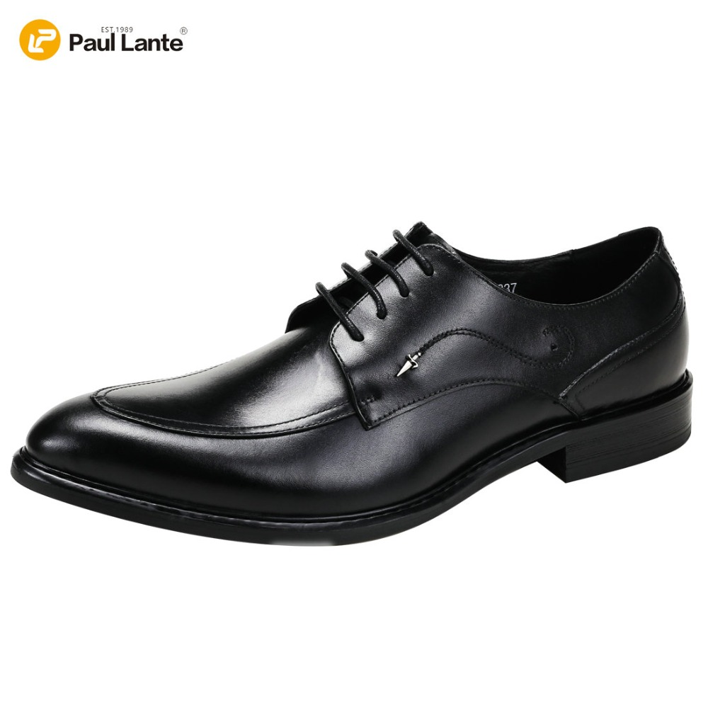ФОТО 2017 Men's Casual Oxfords Lace-up Brogues Pointed Toe Business Wedding Shoes Leather Shoes Genuine Leather Dress Shoe For Men