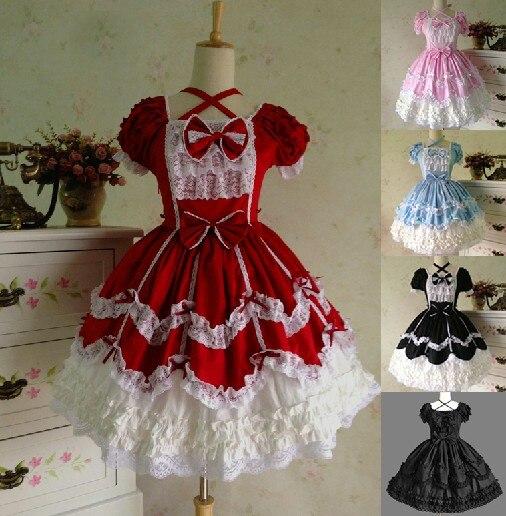 Princess lolita dress gothic vintage lace royal prom formal dress cosplay short sleeve dress