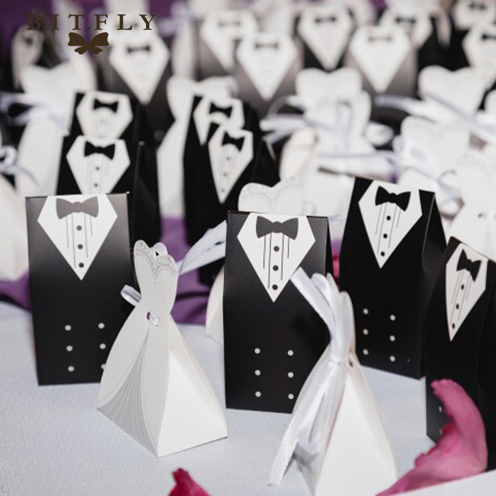 50Pcs Bridal Gift Cases Groom Tuxedo Dress Gown Ribbon Wedding Candy ...