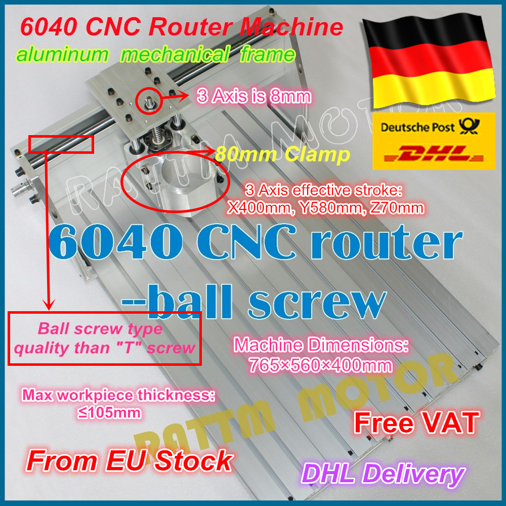 DE ship/free VAT DIY use 6040 CNC Router Engraver Engraving Milling Machine frame Kit Ball Screw & 80mm Aluminum Spindle Clamp 5 axis cnc router 6040 cnc router 1500w spindle ball screw cnc 6040 engraver engraving machine