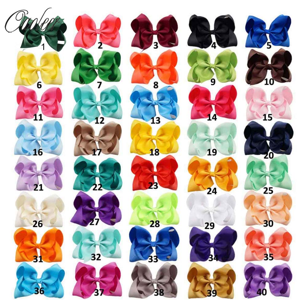 20pcs/lot 5 Solid Grosgrain Ribbon Hair Bow With Alligator Clip For Girl Handmade Kids Boutique Hair Accessories 10pcs lot high quality hair band with grosgrain ribbon flower for girls handmade flower hairbow hairband kids hair accessories