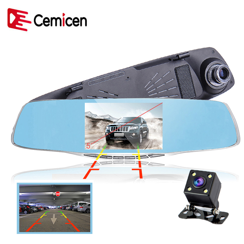 Cemicen 5 inch dual lens car camera rearview mirror auto cars dvr recorder video registrator full hd 1080p night vision dash cam цена