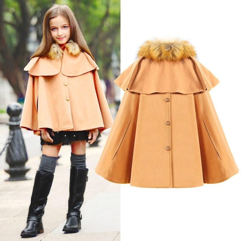 1e63e9549 2016 Big Girls Woolen Blend Children Fashion Outerwear Coats Jacket ...