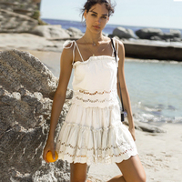TEELYNN white Boho dress 2pc floral Embroidery cotton dresses lace dress sexy sleeveless stap mini women dresses Gypsy vestido