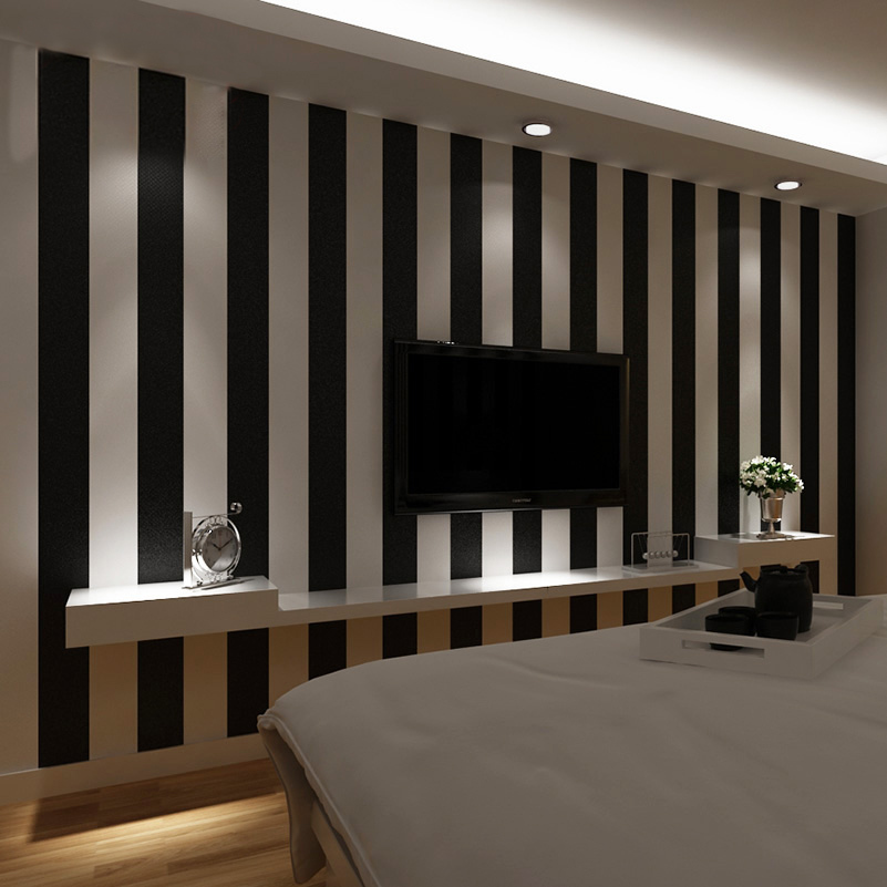 Black And White Vertical Striped Wallpaper Clothing Shop Decoration Wallpaper The Living Room Tv