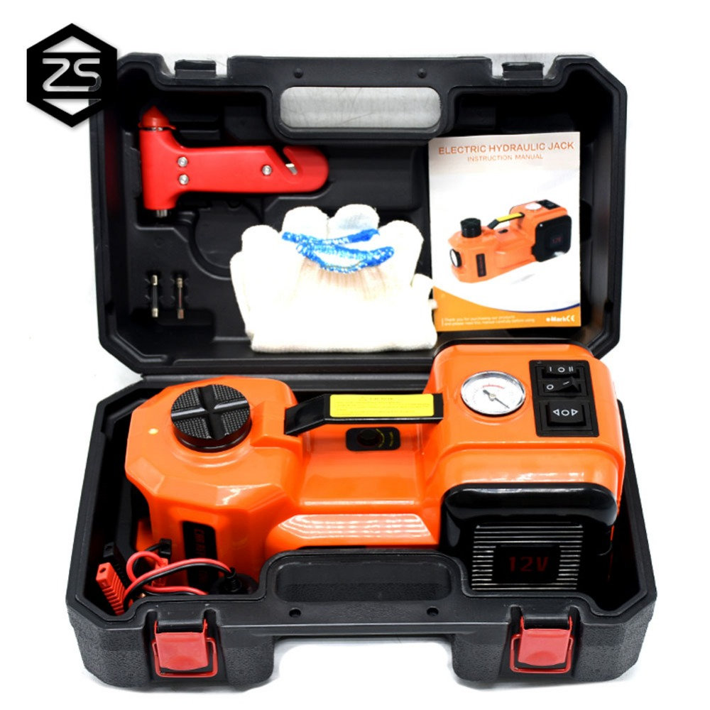 12V DC 5 T 7716lb Electric Hydraulic Floor Jack Tire Inflator Pump LED Flashlight 3 In 1 Set With Safe Hammer