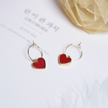 2017 Korean Sweety Lovely Style Drop Earrings Simulated Leather Colourful Heart pendientes mujer moda