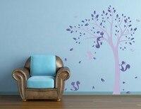 Freies Verschiffen Dschungel Baum Vögel Fuchs 1,9 MT hohe Wandaufkleber Abziehbild Vinyl Wanddekorwandkunst Wand Raumdekoration
