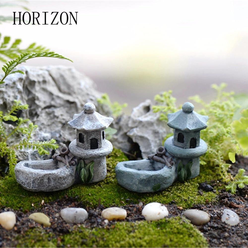 1pcs Vintage Artificial Pool Tower Miniature House Fairy Garden Home Decoration Mini Craft Micro Landscaping Decor