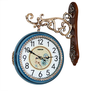European Double Sided Wall Clock Blue Silent Clocks Creative Trend Guess Women Decorative Home Decor Living Room Watches WZH049