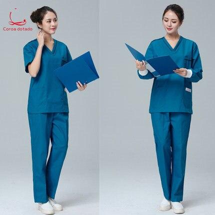Men And Women Brush Hand Long Sleeve Short Sleeve Isolation Clothing Nurses Wear Split Suit Doctor Isolation Clothing