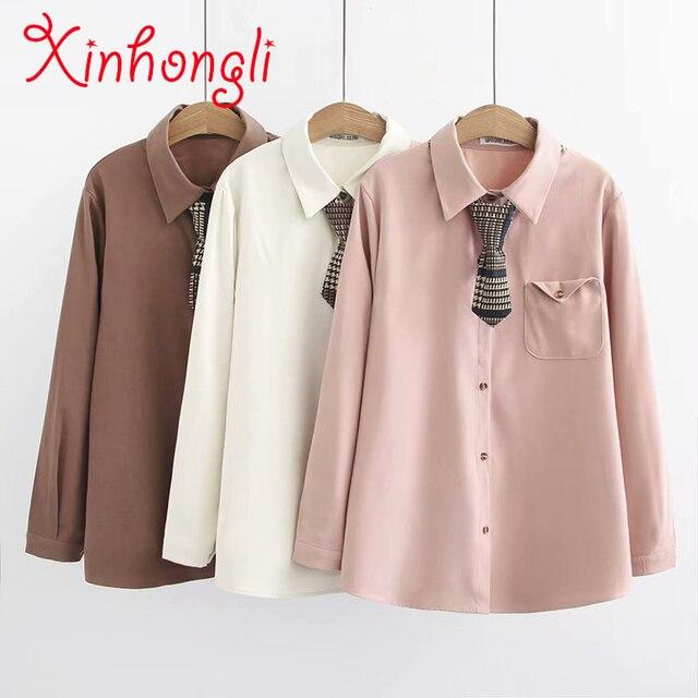 b81056ce41a7 Большие размеры, однотонные, розовые, с карманами, хлопковые женские  рубашки 2019, ...