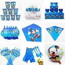 Декоративные вилки Дисней Микки Маус на день рождения, ложки, ножи, чашки, тарелки, баннеры, шляпы, соломинки, Микки, вечерние украшения