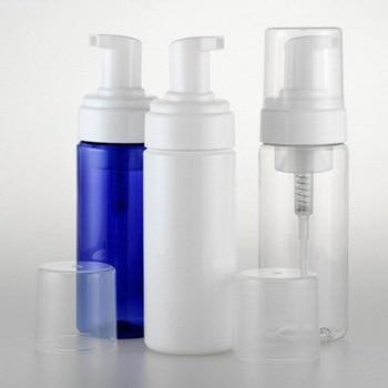 30pcs/Lot New 150ml Empty PET Vacuum Refillable Bottle Foaming Bubble Lotion Dispenser Pump White Blue Clear with Overcap Clear