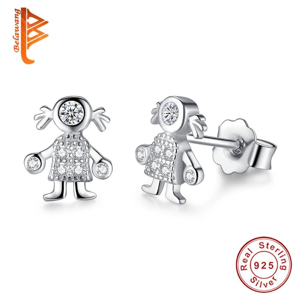 BELAWANG Trendy 925 Sterling Silver Earrings 100% Allergy Free Lovely Cute Girl Earrings with Cubic Zirconia for Women Children