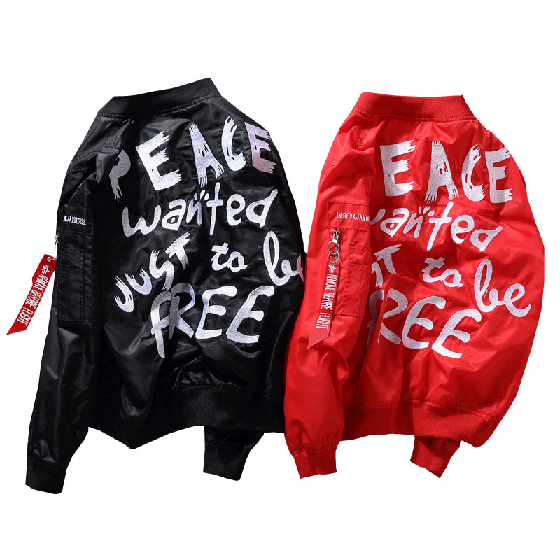 Mens Jackets And Coats Hip Hop Jacket Men Clothes Cotton Embroidery Peace Jacket Zipper Coat Men Ma1 Bomber Jacket Us Size