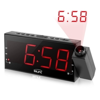 Eu Plug Projection LED Display Time Digital Alarm Clock Talking Voice Prompt Thermometer Snooze Function Desk