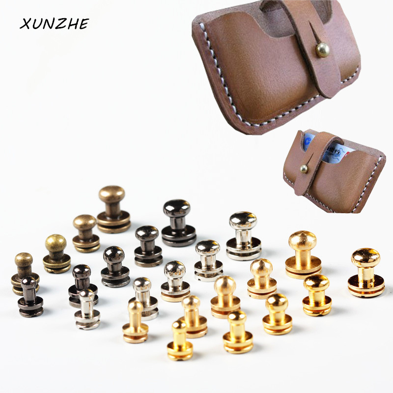 XUNZHE 20pcs/Pack Great Quality Copper Pacifier Nail Luggage Leather Metal Craft Solid Screw Nail Rivet Flank Strap Rivets