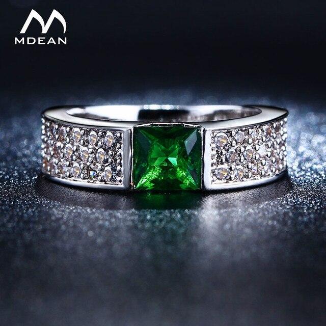 MDEAN   Rings for Women Green White Gold Color Women Rings AAA Zircon Jewelry   Wedding Fashion Size5 6 7 8 9 10MSR210