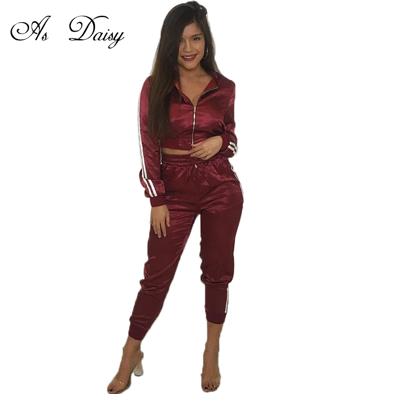 As Daisy 2 Piece Tracksuit Women Fashion Crop Top Jackets And Sweatpant  Blue Burgundy Pink Two Piece Set Autumn Outfit SS0003 0d58b57d3