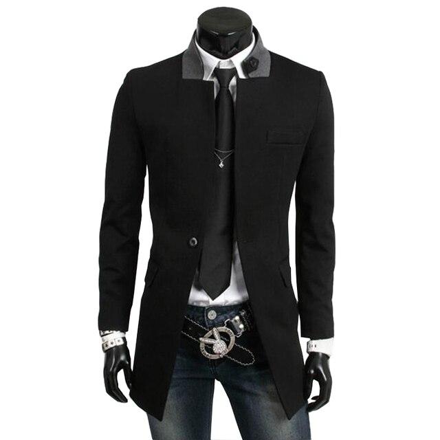 2015 Новая Мода Англия Стиль Зима Мужчины Ветровка Шерстяные Пальто Slim Fit Длинные Пальто Шанца Мужчины