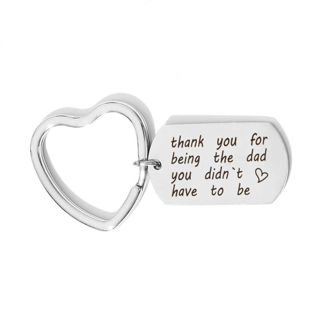 Regalos de joyería familiar gracias por ser el padre que no tienes que ser llaveros colgantes de acero inoxidable para Navidad regalos