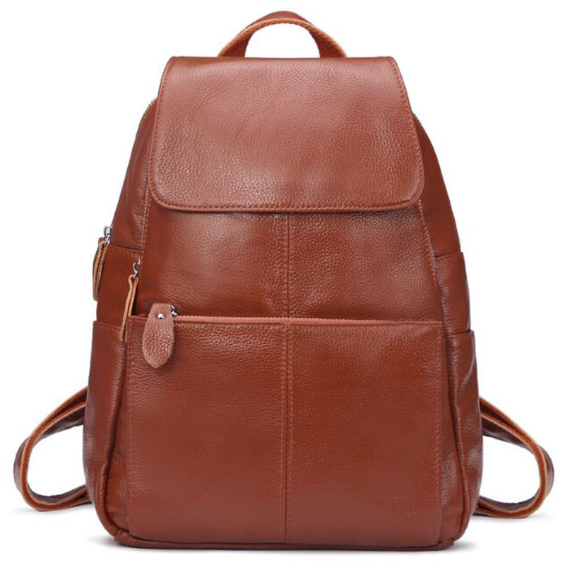 Fashion 100% Genuine Leather Backpack Women Bags Preppy Style Backpack Girls School Bags Zipper Shoulder Women's Back Pack LY130 2015 new fashion designer genuine leather brand ladies preppy style women backpack school backpack women shoulder wnb069