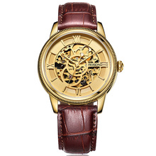 ROSDN Roma Oro Cristal De Zafiro del Reloj Esqueleto Mecánico Automático de Los Hombres Relojes de Lujo Superior de la Marca de Cuero Genuino Reloj Casual