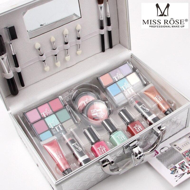 Miss Rose Professional Eye Makeup Eyeshadow Lipstick Lipgloss Nail Polish Blush Palette Full Color Eye Shadow Tool miss rose professional makeup palette in