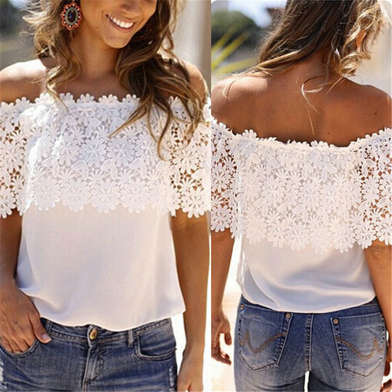 Hot Fashion Women Sommer Lace Crochet Chiffon Shirt Off Shoulder T Shirt Avslappet Topper