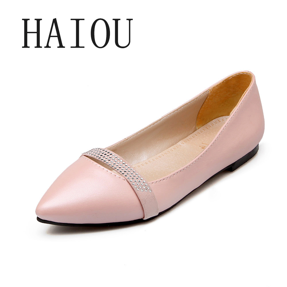 2017 Pointed Toe Flat Shoes Women New Spring Shoes Flats Slip on Women Leather Shoes Flats Plus Size for Woman Black Loafers 2017 new fashion spring ladies pointed toe shoes woman flats crystal diamond silver wedding shoes for bridal plus size hot sale