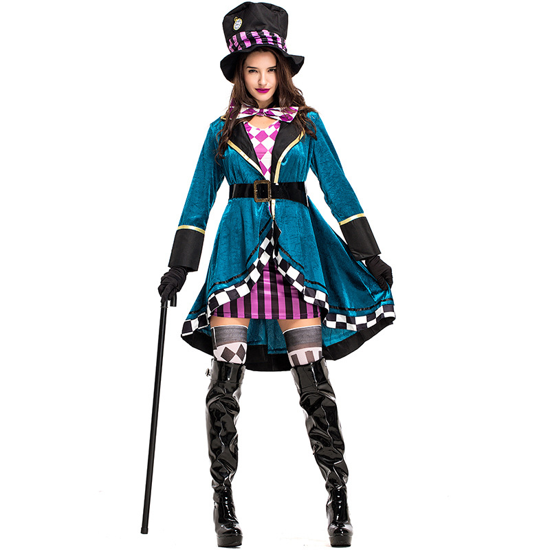 Umorden Blue Delightful Mad Hatter Costume Tank Dress with Clock Hat for Women Halloween Alice in Wonderland Costumes